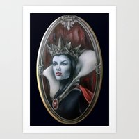 evil queen Art Prints featuring Evil Queen by Yehsiming Jue