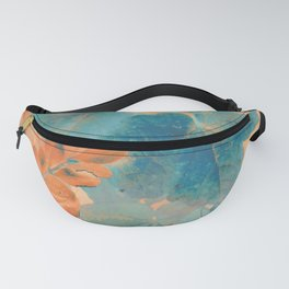 Blue and Orange Autumn Leaves Fanny Pack