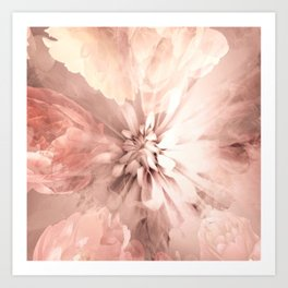 Floral Coral Abstract Flower Design Art Print