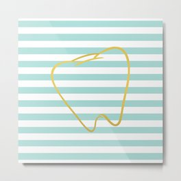 Aqua Stripes with Gold Tooth Metal Print