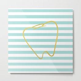 Aqua Stripes with Gold Tooth Metal Print