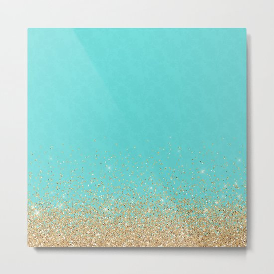 Sparkling gold glitter confetti on aqua teal damask background Metal Print