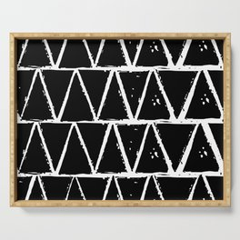 Simple Geometric Zig Zag Pattern- White on Black - Mix & Match with Simplicity of life Serving Tray
