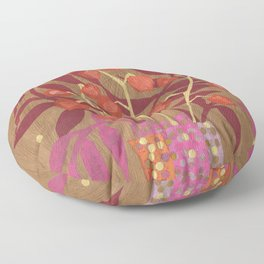 Chinese Lanterns, Physalis, Paper Collage Papercut Autumn Flowers Abstract Floral Floor Pillow