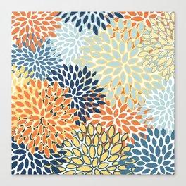 Modern, Floral Prints, Orange, Blue, Yellow Canvas Print