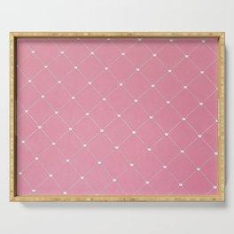 Modern coral pink white geometric pattern Serving Tray