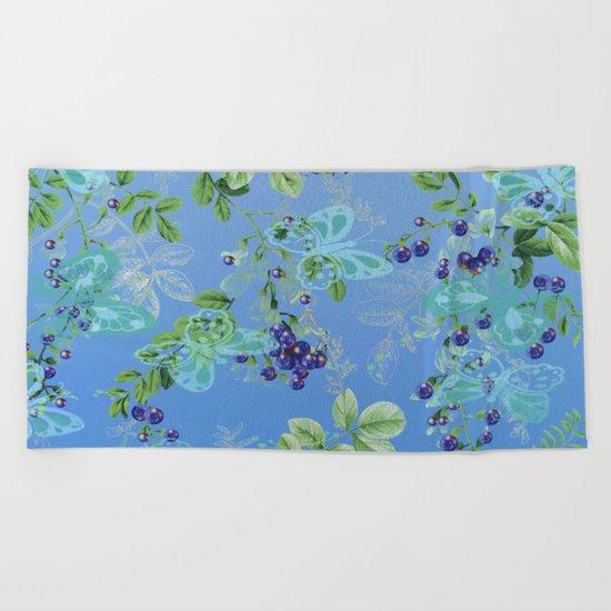 blueberries and butterflies Beach Towel
