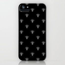 Linocut bee minimal nature insect printmaking black and white bees wasps iPhone Case