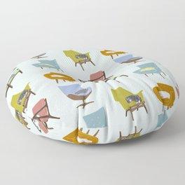 Cats Sleeping on Mid Century Modern Chairs Floor Pillow