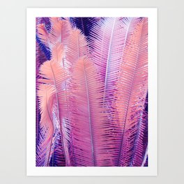 Pink Neon Ferns Art Print