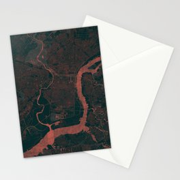 Philadelphia Map Red Stationery Cards