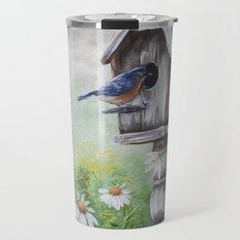 Daisies and Bluebirds Travel Mug