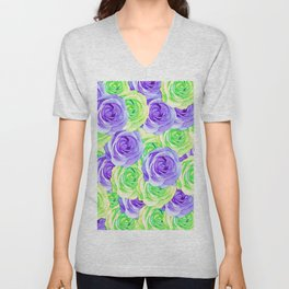 purple rose and green rose pattern abstract background Unisex V-Neck