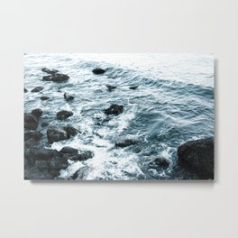 Sea Rocks Dark Blue Metal Print