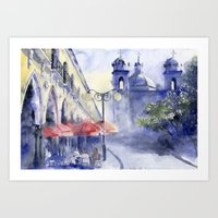 cityscape Art Prints featuring Cityscape by Tania Richard