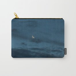 Morning Moonrise: Crescent in the Clouds Carry-All Pouch