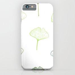 Hand Drawn Green Ginkgo Biloba Pattern iPhone Case