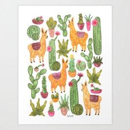 watercolor alpaca clique with cacti and succulents Art Print