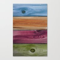 wooden Canvas Prints featuring Wooden Rainbow by Nicklas Gustafsson