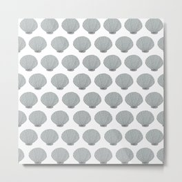 Coastal Sea Shells in Silver Metal Print