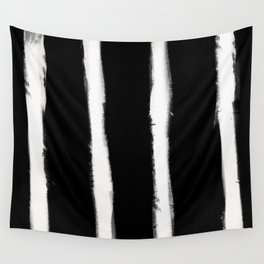 Medium Brush Strokes Vertical Off White on Black Wall Tapestry
