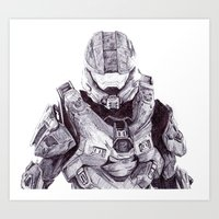 master chief Art Prints featuring Master Chief by DeMoose_Art