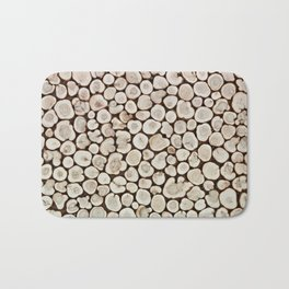 Background of wooden slices tree Bath Mat