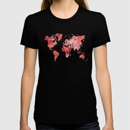 World map in watercolor red T-shirt
