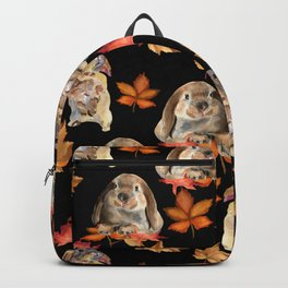Rabbits and autumn leaves Backpack