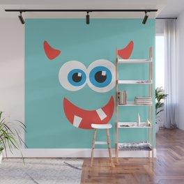 Horny blue monster Wall Mural