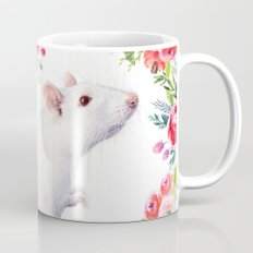 White Rat with Flowers Watercolor Floral Pattern Animal Mug