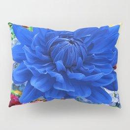 CONTEMPORARY BLUE DAHLIA GARDEN ART Pillow Sham