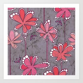 Batik Flower and bees Mauve Art Print