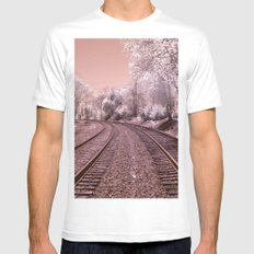 Train Track in Culpeper White MEDIUM Mens Fitted Tee