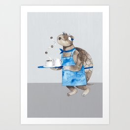 Turtle waitress coffee time Art Print