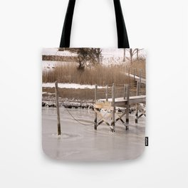 Westport River, Westport, MA ~ Frozen Over Tote Bag