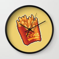 fries Wall Clocks featuring Pixel Fries by TheSkywaker