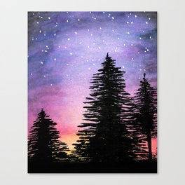 Watercolor Painting of Trees at Night Canvas Print