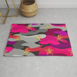 Camo-licious Collection: Hot Pink Camo With Gold Sparkle Stars Rug