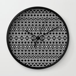 Aztec Essence Pattern II Black White Grey Wall Clock