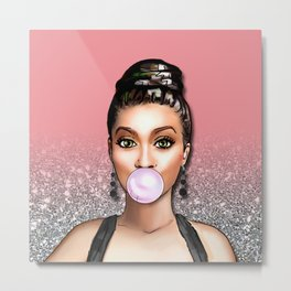 Retro Pinup Girl Blowing Bubble Gum Silver Glitter Metal Print