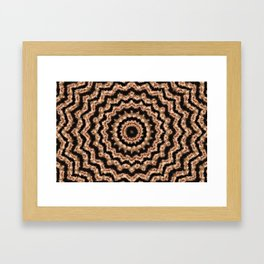 Kaleidoscope Beige Circular Pattern on Black Framed Art Print