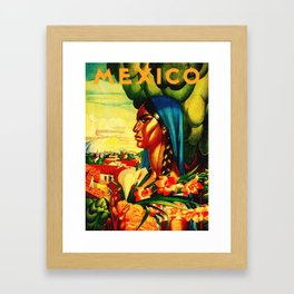 Vintage Mexico Travel - Woman with Flowers Framed Art Print
