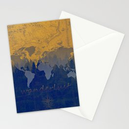 world map wanderlust forest yellow Stationery Cards