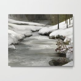 Snow in forest Metal Print