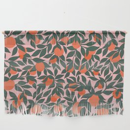 Oranges and Leaves Pattern - Pink Wall Hanging