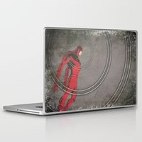 daredevil Laptop & iPad Skins featuring Daredevil: Man Without Fear by Schnydz