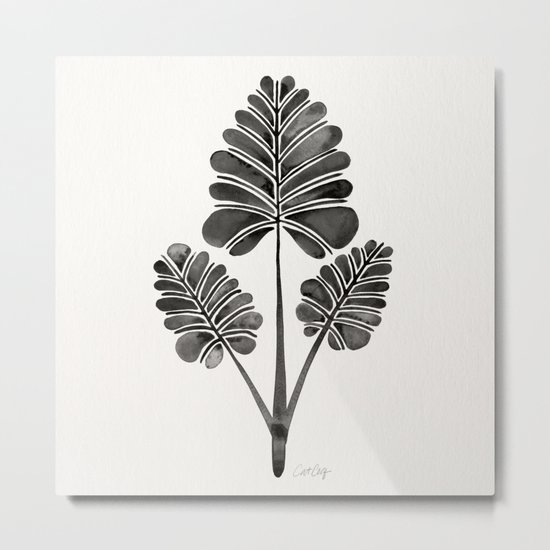 Tropical Palm Leaf Trifecta – Black Palette Metal Print