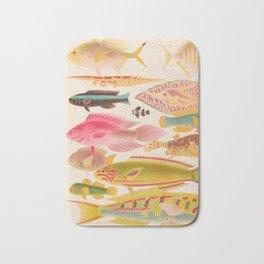 Colorful Tropical Fishes Vintage Sea Life Illustration Bath Mat