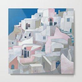 greece houses santorini Metal Print